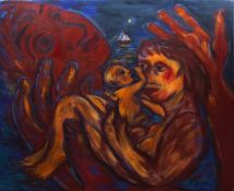 "•AR Eileen Cooper (born 1953), ""Family"", oil on canvas, signed and dated 1985 verso, 166 x 197cm,"
