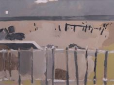 "•AR Mark Bower (contemporary), ""Happisburgh Sea Defences No 2"", oil on canvas, 44 x 60cm"