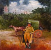 English School (20th century), Figure with horse and carriage, oil on board, bears initials AJM