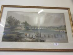 FRAMED PRINT DEPICTING A RIVER SCENE WITH BRIDGE AND FIGURES IN THE FOREGROUND, TOTAL WIDTH INC