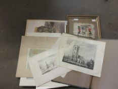 QUANTITY OF UNFRAMED PRINTS, PHOTOGRAPHS ETC INCLUDING BLACK AND WHITE LARGE PHOTOGRAPHS OF THE