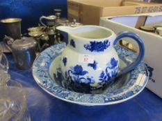 CLEWS BLUE AND WHITE TRANSFER PRINTED WASH BOWL TOGETHER WITH A VICTORIA WARE WATER JUG