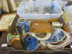 BOX CONTAINING CERAMICS AND COLLECTABLES INCLUDING CASED SET OF SPOONS ETC
