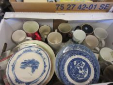 BOX CONTAINING GOOD QUANTITY OF HOUSEHOLD CHINA INCLUDING BLUE AND WHITE PLATES ETC