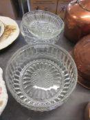 THREE GLASS PIECES INCLUDING FRUIT BOWL, PRESSED GLASS CORONATION SOUVENIR ETC