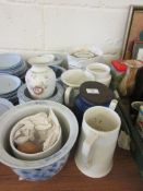 QUANTITY OF VARIOUS PLANTERS AND OTHER CERAMICS INCLUDING BLUE AND WHITE TRANSFER PRINTED EXAMPLES
