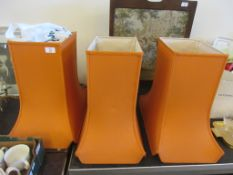 THREE MATCHING VINTAGE LAMP SHADES, EACH HEIGHT APPROX 46CM