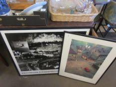 TWO LARGE PRINTS INCLUDING 1950S DRIVE-IN CINEMA VIEW