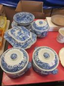 SELECTION OF EIGHT BLUE AND WHITE ITEMS INCLUDING GREENS JUGS, SEVEN PIECES OF COPELAND SPODE BLUE