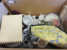 BOX CONTAINING CHINA AND OTHER KITCHEN ITEMS