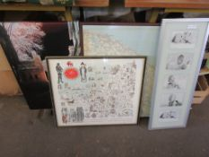 SELECTION OF FOUR PRINTS INCLUDING SOUVENIR OF COUNTY OF SOMERSET, MAP OF NORFOLK ETC