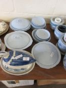 QUANTITY OF JOHNSON BROS PART DINNER SERVICE INCLUDING TUREENS ETC TOGETHER WITH A DUCK BLUE AND