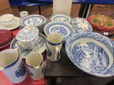 SELECTION OF BLUE AND WHITE WARES INCLUDING GREENS JUGS, LARGE FRUIT BOWL, TUREENS, MOSAIC TEA POT