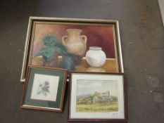 THREE FRAMED PICTURES INCLUDING WATERCOLOUR OF WIVERTON CHURCH, OIL ON BOARD STILL LIFE AND A