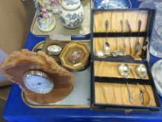TRAY CONTAINING MIXED COLLECTABLES INCLUDING CLOCKS, CUTLERY SET