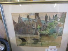 FRAMED WATERCOLOUR DEPICTING OXFORD (?) RIVER VIEW