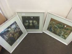 SET OF THREE FRAMED PRINTS OF RENAISSANCE SCENES, EACH FRAME APPROX 44CM