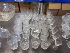 ASSORTMENT OF CUT GLASS AND OTHER GLASS WARE INCLUDING WHISKY GLASSES ETC