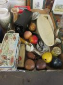 BOX CONTAINING MIXED COLLECTABLES INCLUDING VINTAGE PASCALL AND JACOB TINS, FOLEY MUSTARD POT ETC