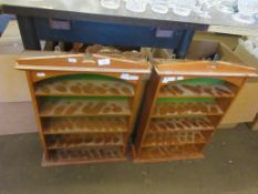 PAIR OF SMALL WOODEN WALL DISPLAY SHELVES, EACH HEIGHT APPROX 64CM