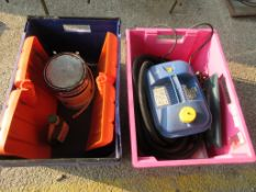 TWO BOXES CONTAINING WALL PAPER STRIPPER VARIOUS PAINTS ETC