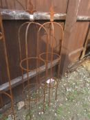 PAIR OF FINIAL TOPPED GARDEN OBELISKS HEIGHT APPROX 110CM