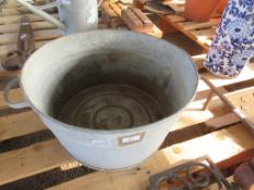 LARGE GALVANISED WASHING PALE APPROX 46CM DIAMETER