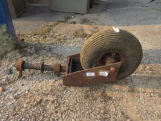 LARGE SINGLE MOUNTED METAL WHEEL WITH NUMATIC TYRE POSSIBLY EX AIRCRAFT OR SIMILAR