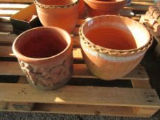TWO VARIOUS VINTAGE TERRACOTTA PLANTERS THE LARGER APPROX 32CM DIAMETER