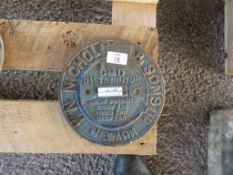 CAST METAL MACHINERY PLAQUE FOR NICHOLSON & SONS LTD NEWARK CMD DISTRIBUTOR
