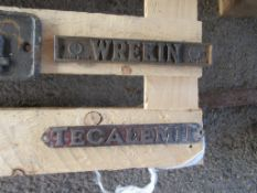 TWO CAST MAKERS PLATES FOR WREKIN & TECALEMIT
