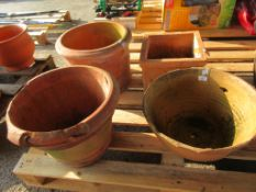 SELECTION OF FOUR VARIOUS TERRACOTTA PLANTERS THE LARGEST DIAMETER APPROX 43CM