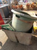 QTY OF MOULDED PLASTIC PLANTERS, TRUGS ETC