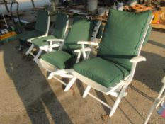 SET OF FOUR FOLDING GARDEN CHAIRS TOGETHER WITH CUSHIONS