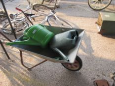 GALVANISED WHEEL BARROW TOGETHER WITH TWO PLASTIC WATERING CANS