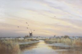 •AR Colin W Burns (born 1944), Winter Broadland scene with three mills, oil on canvas, signed