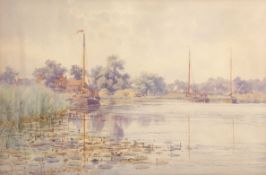 "Stephen John Batchelder (1849-1932), ""Barton Staithe"", watercolour, signed, dated 22/8/90 and"