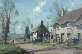•AR Stanley Orchart (1920-2005), Village Street, oil on board, signed lower right, 49 x 74cm