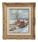 """Wilfrid Stanley Pettitt (1904-1978) """"Norfolk Manor, Ditchingham"""", oil on panel, signed lower left,"""