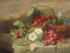 Eloise Harriet Stannard (1828-1915), Still Life study of raspberries in baskets with flowers, oil on
