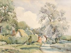"•AR Rowland Fisher, ROI, RSMA (1885-1969), ""Ilketshall Common"", watercolour, signed lower left, 28 x"