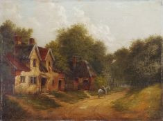 Edward Littlewood (1863-1896), Figure on Horse before a Cottage in Woodland, oil on canvas, 31 x