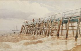 Charles Harmony Harrison (1842-1902), Figures on a jetty, watercolour, signed lower left, 29 x 46cm.
