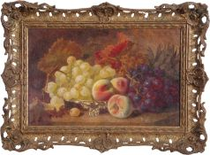 Eloise Harriet Stannard (1828-1915), Still Life study of peaches and grapes, on Norwich silver