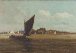 "AW, (19th century), ""Oulton Broad"", oil on canvas, monogrammed and dated 92 lower right, 17 x 24cm"