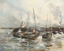 •AR Geoffrey Chatten (born 1938), Boats in harbour, oil on board, signed lower right, 60 x 75cm