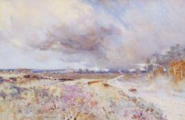 "Frank Southgate, RBA (1872-1916), ""Dersingham Heath"", watercolour, signed lower left, 33 x 50cm"