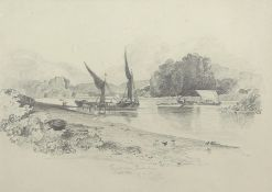 "Miles Edmund Cotman (1810-1858), ""Thames above Twickenham, August 1837"", pencil drawing, signed"