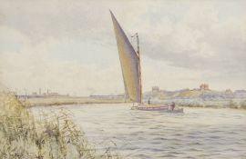 "Stephen John Batchelder (1849-1932), ""Herringfleet Bridge, River Waveney"", watercolour, signed lower"