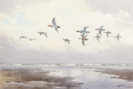 "•AR John Cyril Harrison (1898-1985), ""Over the tideway - Widgeon"", watercolour, signed lower"